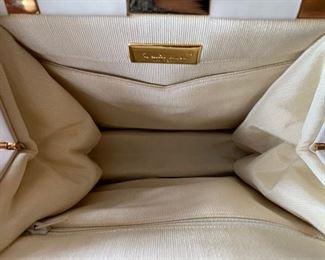 Judith Leiber Cream Textured Handbag (very good condition) (8'' x 9.5'') $600
