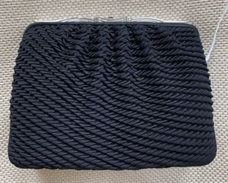 Judith Leiber Woven Black Satin Evening Bag w/ Silver & Pave Stone Detail (6.5'' x 5'') $180