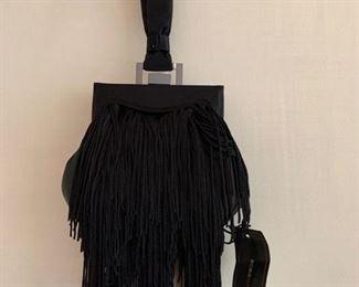BCBG Black Satin Evening Bag w/ Fringe (5.5'' x 6'') $50