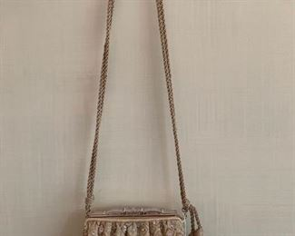 Judith Leiber Beaded Satin Evening Bag w/ Rope Shoulder Strap & Pave Stone Closure (6'' x 5.5'') $180