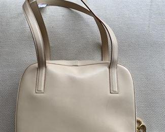 Ferragamo Cream Handbag (11'' x 10'') $180