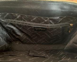 Ferragamo Black Suede Handbag (17'' x 14'') $180
