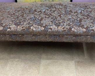 "$80. Floral cloth bench brown, blue, silver. 21""W x 46""L x 20""H"