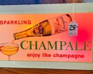 """$28. Multicolor that plugs in, Champale Sign. 1ft'W x 8""""H"""
