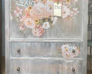"$250. Vintage grey painted chest. 34""W x 22""D x 51""H"