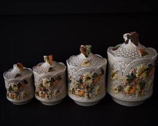 G8Mexican Ceramic Set of 4 Vintage Kitchen Canisters with Lids$44.95
