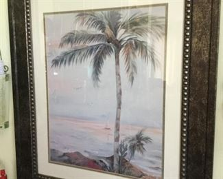 Large palm tree seashore print nicely framed 26.5 wide by 30 tall $20.00 SALE $15.00