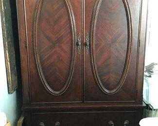 Deluxe Tall boy dresser with inlaid panels has inner lower shelf and upper bar for clothing with two velvet lined roomy drawers below 49 wide by 29 deep by 71 tall by Davis International $150.00 SALE $125.00 SALE $100.00