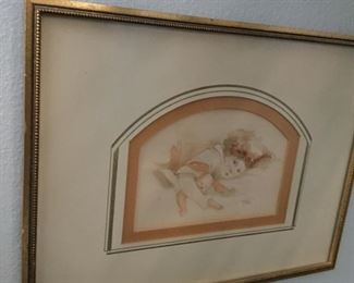 Original of wildly popular northwest artist Dorothy Klver 9.5 by 12.5 these are rare as only copies are found  note incredible matting was done by her husband circa 1970s $65.00 SALE $50.00 SALE $35.00