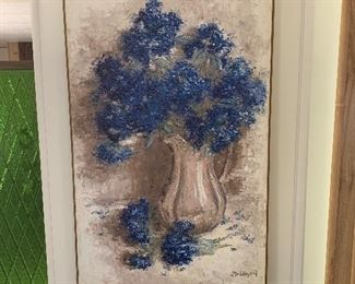 """Blue Floral by Molanari.  Hole in canvas was """"patched"""" by owner.  Not a professional repair. Measures 29.5"""" by 43"""".  Offered at $175."""