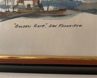 """""""Golden Gate""""  San Francisco watercolor print by Newhouse.  22 1/2"""" H by 42 1/2 """" W     Offered at $140.00"""