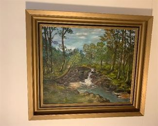 """Original Oil Painting of Forest Waterfall. 26"""" x 29 1/2 """" Priced at $150"""