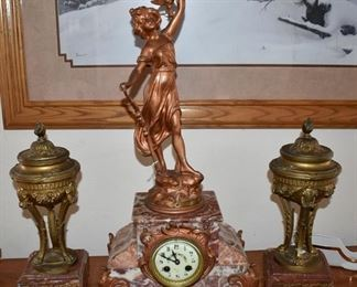 Nymphe Diane rouge marble clock from France.  Rouge marble urns match, but are separate from the clock.