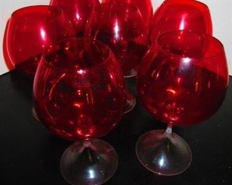 Group of Ruby Brandy Snifters $95
