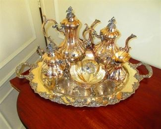 Silver on Copper Tea Service  with Tray $200
