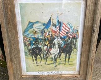 14 x 18- Buffalo Bill Cody hand-colored engraving, rare 19th-century example in frame $125