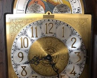"detail 81"" Molyneux moon face grandfather clock"