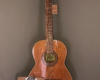 Brand new La Patrie, concert  Acoustic guitar with butterfly motif, $400