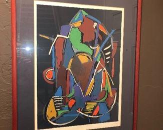 """Red framed artwork, 24""""x30"""", $100"""