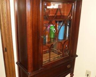 Matching Vintage mahogany small china cabinet w/drawer,  3 shelves & original pulls