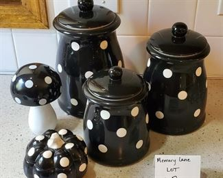 """$25 - Terramoto Ceramic canister set and matching extras. Largest canister is 9"""" tall"""