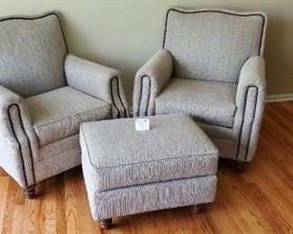 """$400 - 2 Huntington House Chairs with one matching stool . Chairs are 32"""" W x 36"""" D x 36"""" T"""
