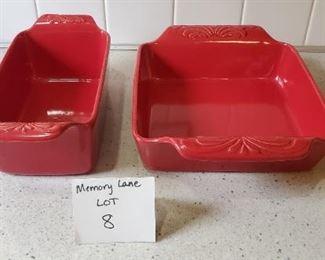 $20 - 2 Chantal stoneware casserole dishes. 1 1/2 qt & 2 qt.