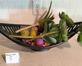 """$15 - Black leaf basket décor. 26"""" wide"""