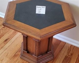 "$30 - Wood side/end table with a black slate insert. 23""W x 20""T"
