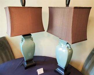 """$60/pair - 2 Tall green table lamps with brown shades 35""""tall overall"""