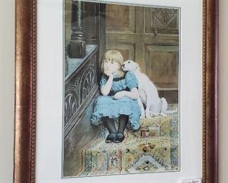 """$30 - 34"""" x 28"""" Girl & Dog print"""