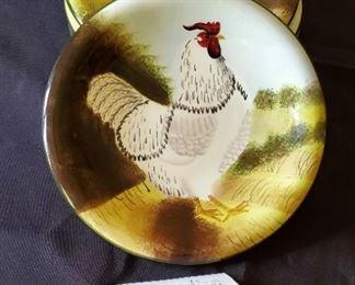 """$15 - 4 Sakura 'On the Farm' Salad rooster 8"""" salad plates"""