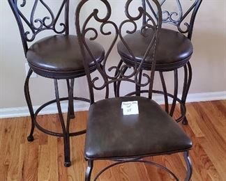 """$130 - 2 (27"""" tall seat level) Swivel Bar Chairs & one matching table chair"""