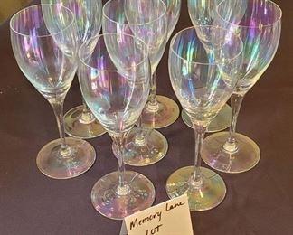 "$20 - 8 Iridescent 8 1/2"" tall wine glasses"