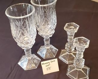 """$25/all - 4 glass & crystal candle holders (tall ones are 11 1/2"""" tall)"""