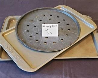 $5/all - 3 baking pans. One Farberware pan, one Bakers secret pan & one pizza pan)