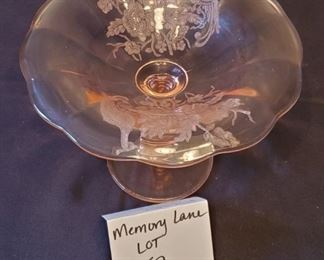 """$25 - Pink depression glass compote - Paden city peacock & wild rose 8""""W x 6"""" tall"""