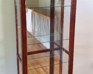 "$225 - Philip Reinisch Co. Lighted Curio Cabinet with sliding door 76""T x 30"" W x 12 ½"" D"