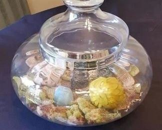 """$25 - Glass footed lidded bowl home decor 14"""" wide"""