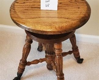 """$50 - Piano Stool with claw foot feet App. 19""""T & 15""""W"""