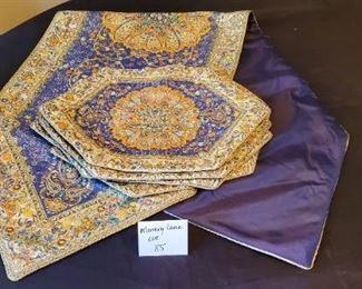 "$30 - Beautiful Iraniun Art 18.5"" x 62"" Table runner & 6 placemats. *Unused*"