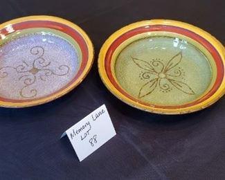 "$7 - 2 Toscana Handpainted StoneLite Clay Art Bowls 9.5"" in diameter"