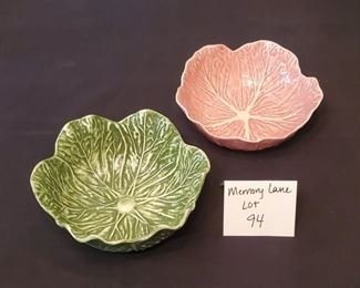 """$8/Pair - Green Faiancas Neto & Gomes 7.25"""" cabbage bowl & a pink Bordallo Pinheiro 6.25"""" cabbage bowl"""