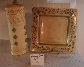 """$12/pair - Pier 1 Imports 11.25"""" square platter """"Olive"""" with stand & a 13.5"""" spaghetti holder"""