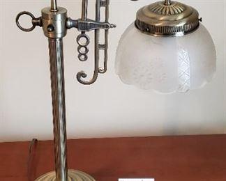 """$15 - 21"""" tall brass & glass office lamp."""