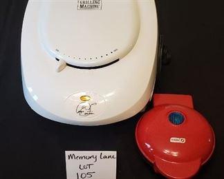 $13 - George Forman Grilling Machine (like new!) and a Dash Mini Waffle Maker