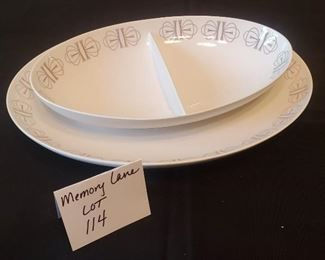 """$10 - Franciscan Whitestone Ware 'Merry-go-round' 6.75"""" x 11 1/8"""" Slotted dish & 9.5"""" x 13"""" Oval Serving Platter"""