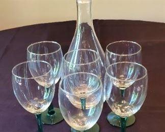 """$15 - 14.5"""" Decanter & 6 green stemmed wine glasses"""