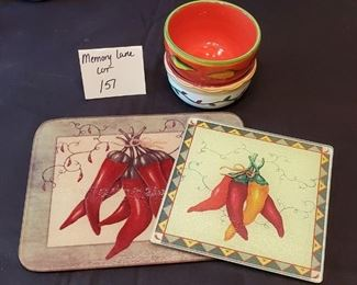 $7 - 'Hot pepper' Kitchen items- 2 glass hot plates & 2 salsa bowls