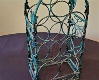 """$5 - Metal (thick metal-not flimsy) wine bottle holder 20.5""""tall"""